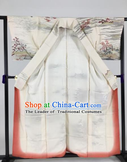 Japanese Ancient Male Palace White Kimono Costume Traditional Wafuku Hakama Yukata Robe for Men