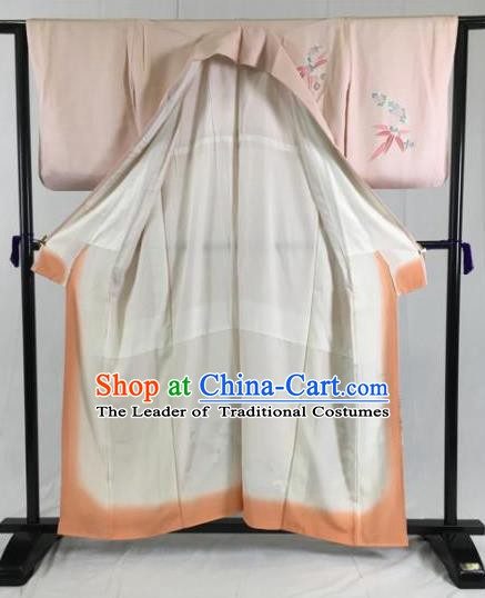 Japan Traditional Kimonos Pink Silk Palace Furisode Kimono Ancient Yukata Dress Formal Costume for Women