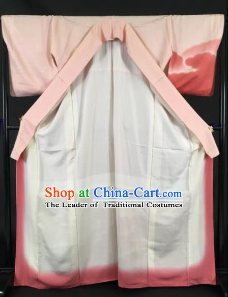 Japan Traditional Pink Silk Kimono Furisode Kimono Ancient Yukata Dress Formal Costume for Women