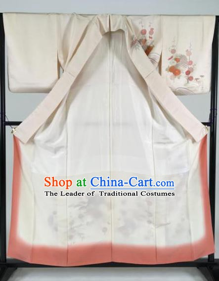 Japan Traditional Kimonos White Silk Palace Furisode Kimono Ancient Yukata Dress Formal Costume for Women