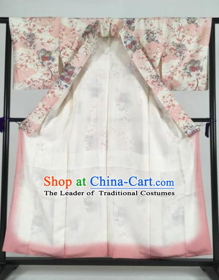 Japan Traditional Kimonos Printing Flowers Pink Palace Furisode Kimono Ancient Yukata Dress Formal Costume for Women