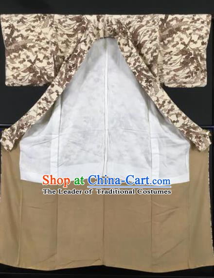 Japanese Male Costume Ancient Palace Brown Kimono Traditional Wafuku Hakama Yukata Robe for Men