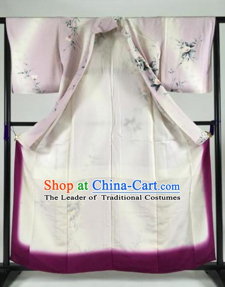 Japan Traditional Kimonos Palace Furisode Kimono Ancient Printing Flowers Pink Yukata Dress Formal Costume for Women