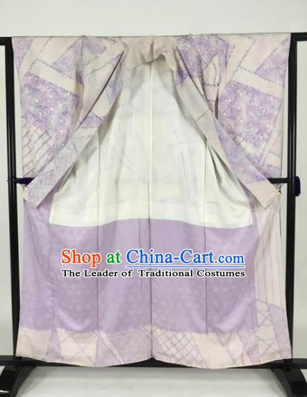 Japan Traditional Kimonos Palace Furisode Kimono Ancient Lilac Yukata Dress Formal Costume for Women