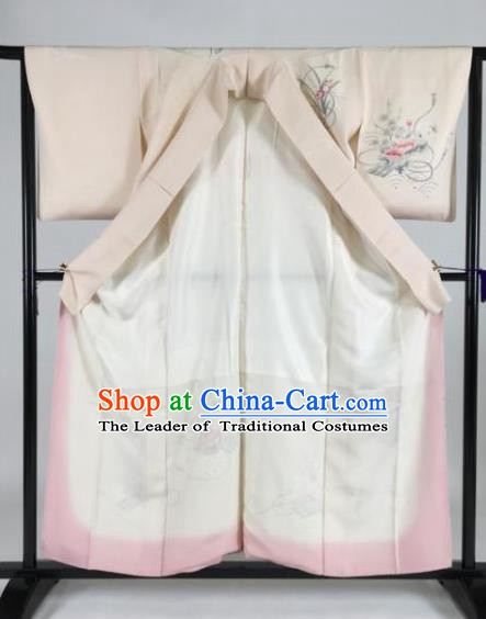 Japan Traditional Kimonos Palace Furisode Kimono Ancient Pink Yukata Dress Formal Costume for Women