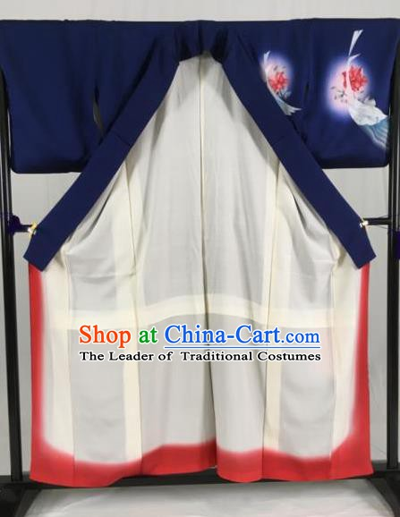 Japan Traditional Kimonos Geisha Printing Crane Furisode Kimono Ancient Yukata Dress Formal Costume for Women
