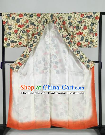 Japan Traditional Kimonos Geisha Printing Yellow Furisode Kimono Ancient Yukata Dress Formal Costume for Women