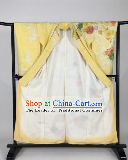 Ancient Japanese Geisha Yellow Furisode Kimonos Traditional Female Yukata Dress Formal Costume for Women