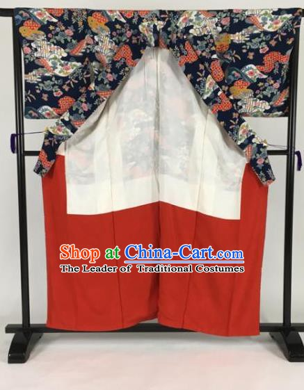 Japanese Mikado Costume Ancient Palace Printing Navy Kimono Traditional Wafuku Hakama Yukata Robe for Men