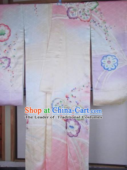 Ancient Japanese Geisha Pink Silk Furisode Kimonos Traditional Female Yukata Dress Formal Costume for Women