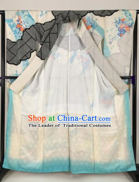 Ancient Japanese Geisha Furisode Kimonos Traditional Female Printing Yukata Dress Formal Costume for Women