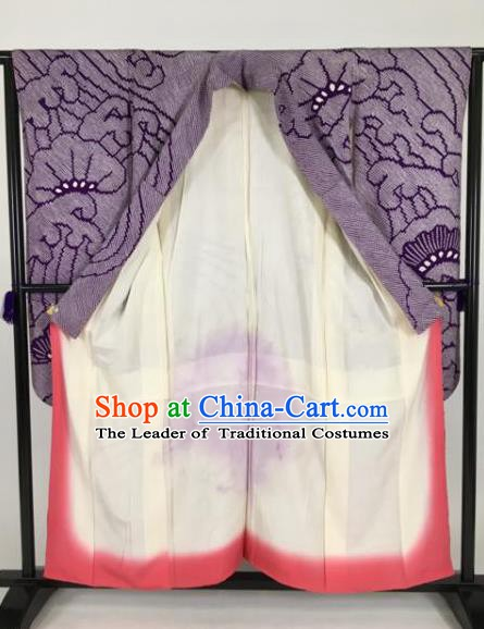 Ancient Japanese Geisha Furisode Kimonos Traditional Female Purple Yukata Dress Formal Costume for Women