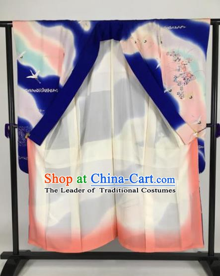 Ancient Japanese Geisha Furisode Kimonos Traditional Female Blue Yukata Dress Formal Costume for Women