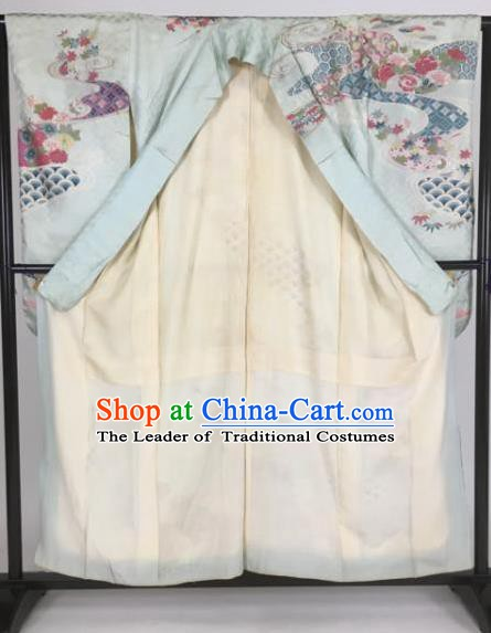 Ancient Japanese Geisha Printing Furisode Kimonos Traditional Female Blue Yukata Dress Formal Costume for Women