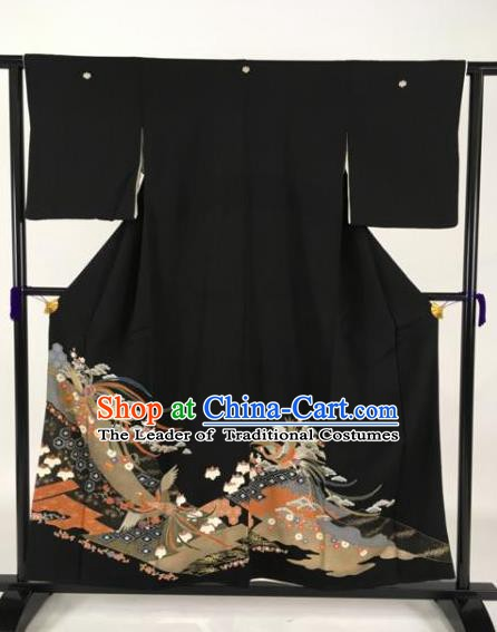 Japanese Samurai Palace Black Kimonos Traditional Wafuku Hakama Yukata Robe Costume for Men