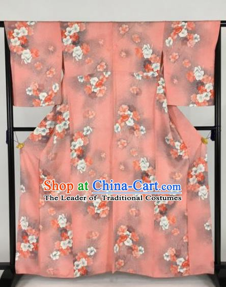 Japan Traditional Printing Flowers Kimonos Pink Furisode Kimono Ancient Yukata Dress Formal Costume for Women
