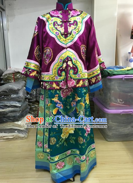 China Traditional Qing Dynasty Gentlewoman Embroidered Dress Costume for Women