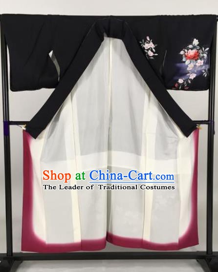 Japan Traditional Printing Kimonos Black Furisode Kimono Ancient Yukata Dress Formal Costume for Women