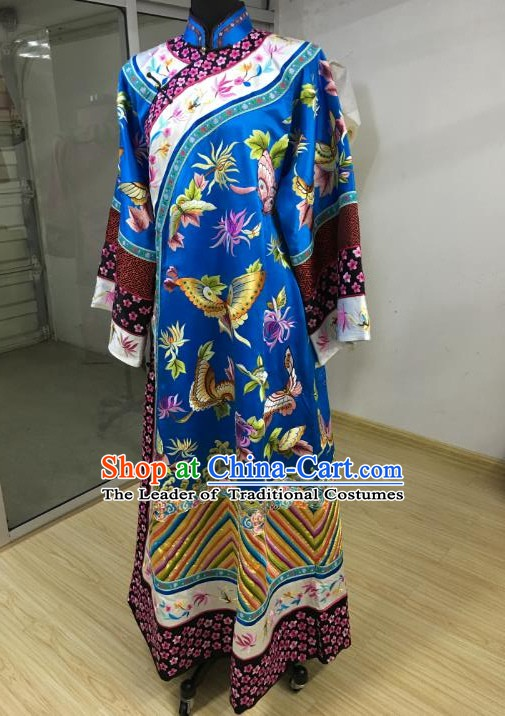 China Traditional Qing Dynasty Manchu Imperial Concubine Embroidered Dress Costume for Women