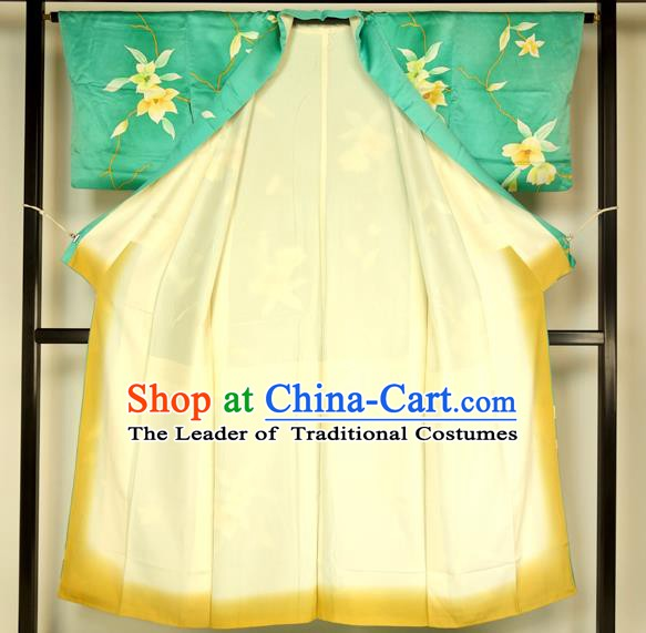 Ancient Japanese Green Furisode Kimonos Traditional Female Yukata Dress Formal Costume for Women