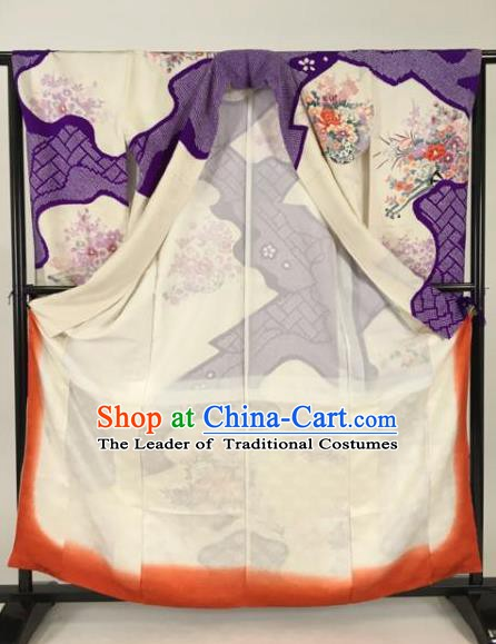 Ancient Japanese Geisha Purple Furisode Kimonos Traditional Female Yukata Dress Formal Costume for Women