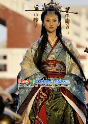 Chinese Ancient Princess Hanfu Han Dynasty Embroidered Costume and Headpiece Complete Set for Women