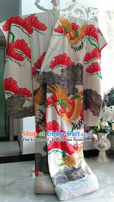 Ancient Japanese Geisha White Furisode Kimonos Traditional Wedding Yukata Dress Formal Costume for Women