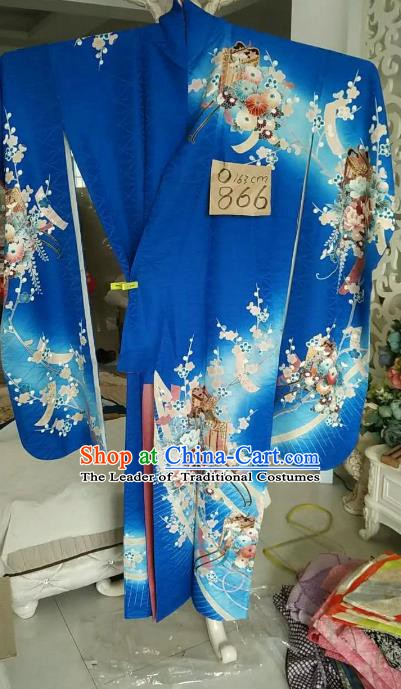 Ancient Japanese Palace Blue Furisode Kimonos Traditional Printing Flowers Yukata Dress Formal Costume for Women