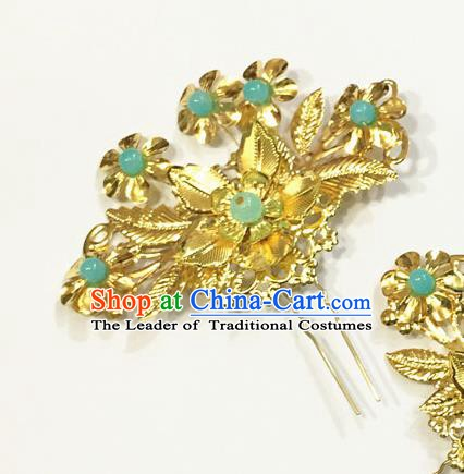 Asian Chinese Ancient Palace Lady Hair Accessories Blue Beads Hairpins for Women