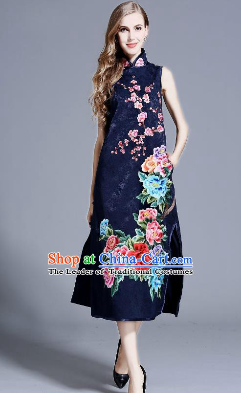 Chinese National Costume Navy Cheongsam Embroidered Peony Qipao Dress for Women