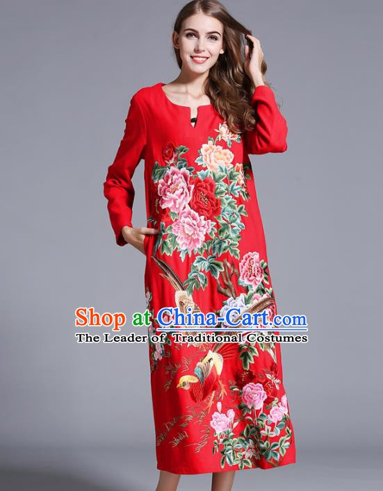 Chinese National Costume Orphrey Embroidered Red Cheongsam Qipao Dress for Women