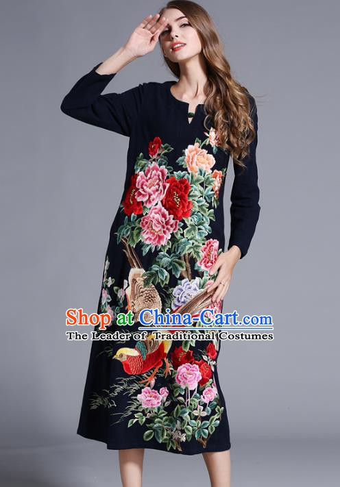 Chinese National Costume Orphrey Embroidered Navy Cheongsam Qipao Dress for Women