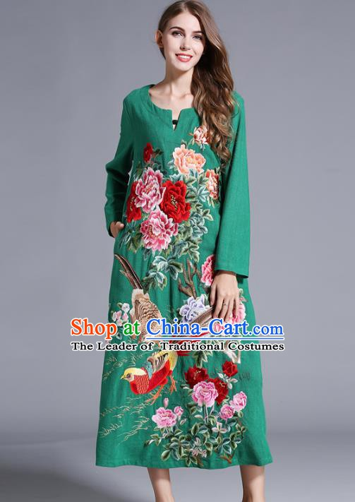 Chinese National Costume Orphrey Embroidered Green Cheongsam Qipao Dress for Women