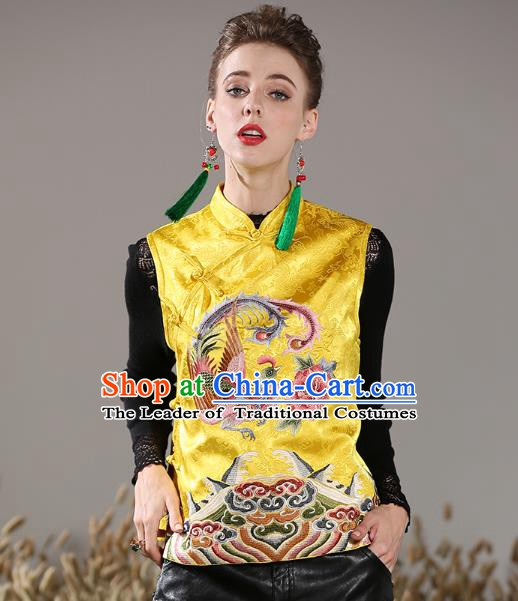 Chinese National Costume Traditional Embroidered Phoenix Peony Yellow Vests Waistcoat for Women