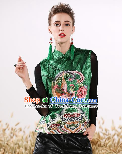 Chinese National Costume Traditional Embroidered Phoenix Peony Green Vests Waistcoat for Women