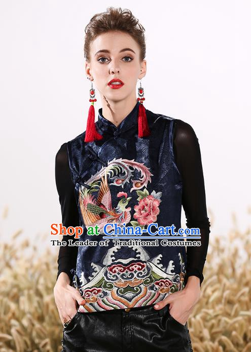 Chinese National Costume Traditional Embroidered Phoenix Peony Navy Vests Waistcoat for Women