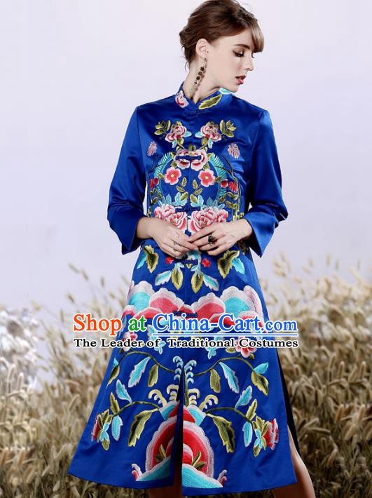 Chinese National Costume Embroidered Royalblue Qipao Dress Silk Cheongsam for Women