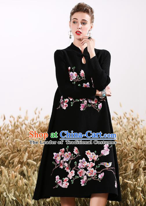 Chinese National Costume Embroidered Peach Blossom Qipao Dress Cheongsam for Women