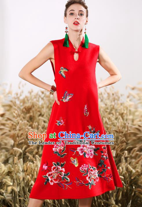 Chinese National Costume Embroidered Peony Butterfly Red Qipao Dress Cheongsam for Women