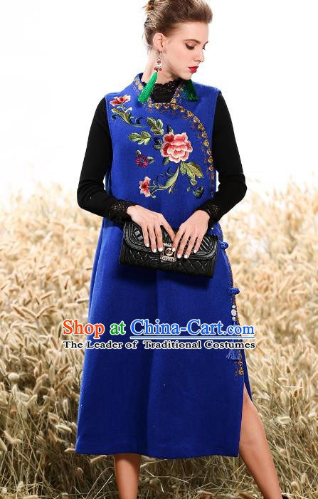 Chinese National Costume Traditional Embroidered Vests Dress Blue Cheongsam for Women