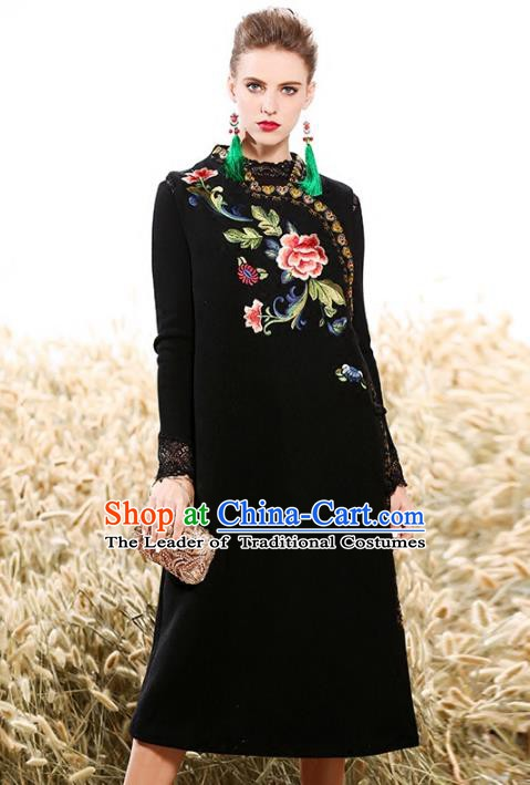 Chinese National Costume Traditional Embroidered Vests Dress Black Cheongsam for Women