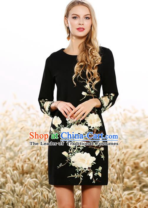 Chinese National Costume Embroidered Flowers Black Qipao Dress Cheongsam for Women