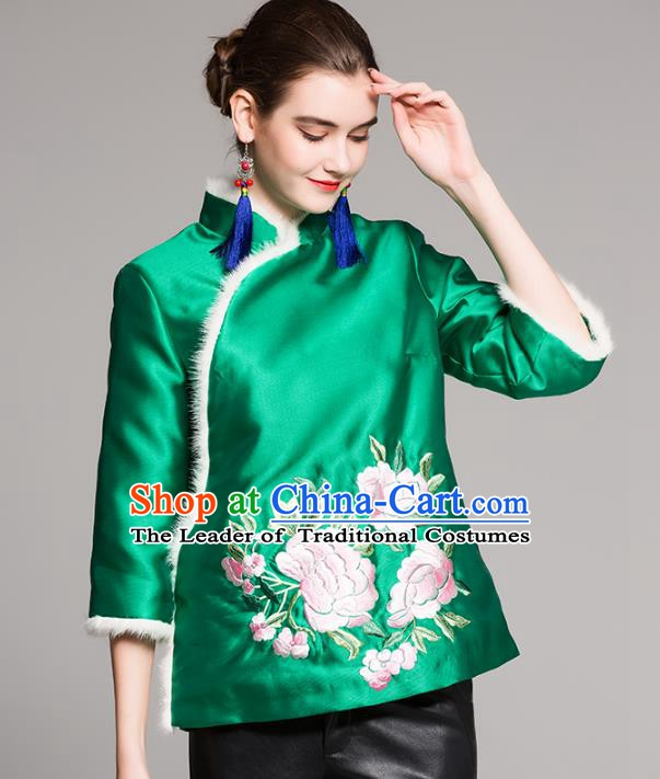 Chinese National Costume Traditional Embroidered Green Blouse Silk Cotton-padded Coat for Women