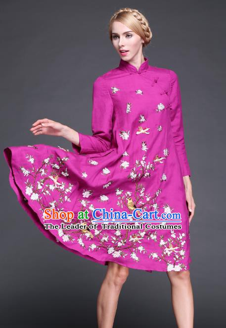Chinese National Costume Embroidered Flowers Birds Rosy Qipao Dress Cheongsam for Women