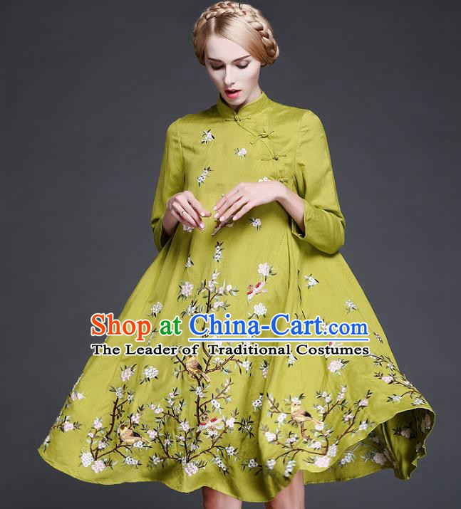 Chinese National Costume Embroidered Flowers Birds Green Qipao Dress Cheongsam for Women
