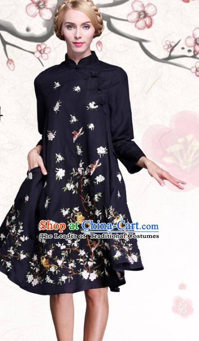 Chinese National Costume Embroidered Flowers Birds Navy Qipao Dress Cheongsam for Women