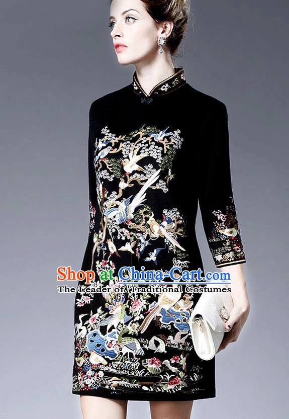 Chinese National Costume Embroidered Black Qipao Dress Stand Collar Cheongsam for Women