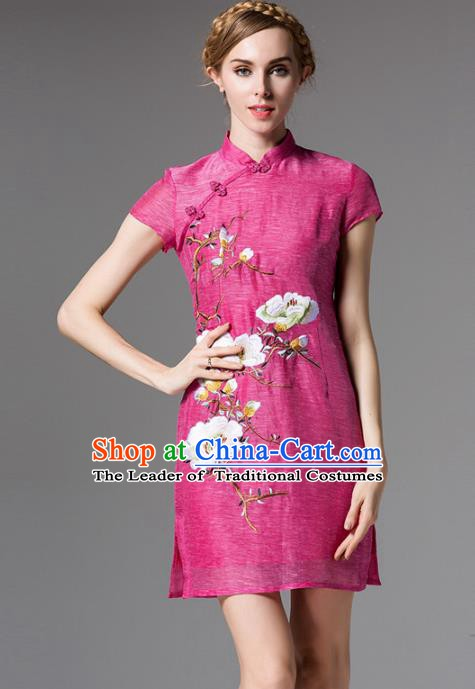 Chinese National Costume Embroidered Pink Qipao Dress Stand Collar Cheongsam for Women