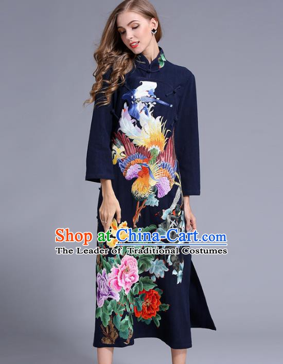Chinese National Costume Stand Collar Navy Cheongsam Embroidered Peony Qipao Dress for Women