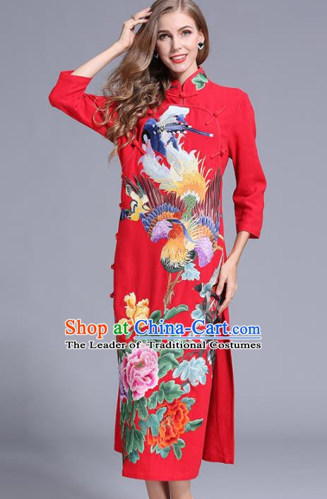 Chinese National Costume Stand Collar Red Cheongsam Embroidered Peony Qipao Dress for Women